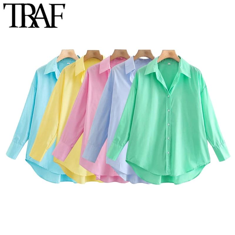 TRAF Women Fashion Loose Asymmetry Poplin Blouses Vintage Long Sleeve Button-up Female Shirts Blusas Chic Tops 1