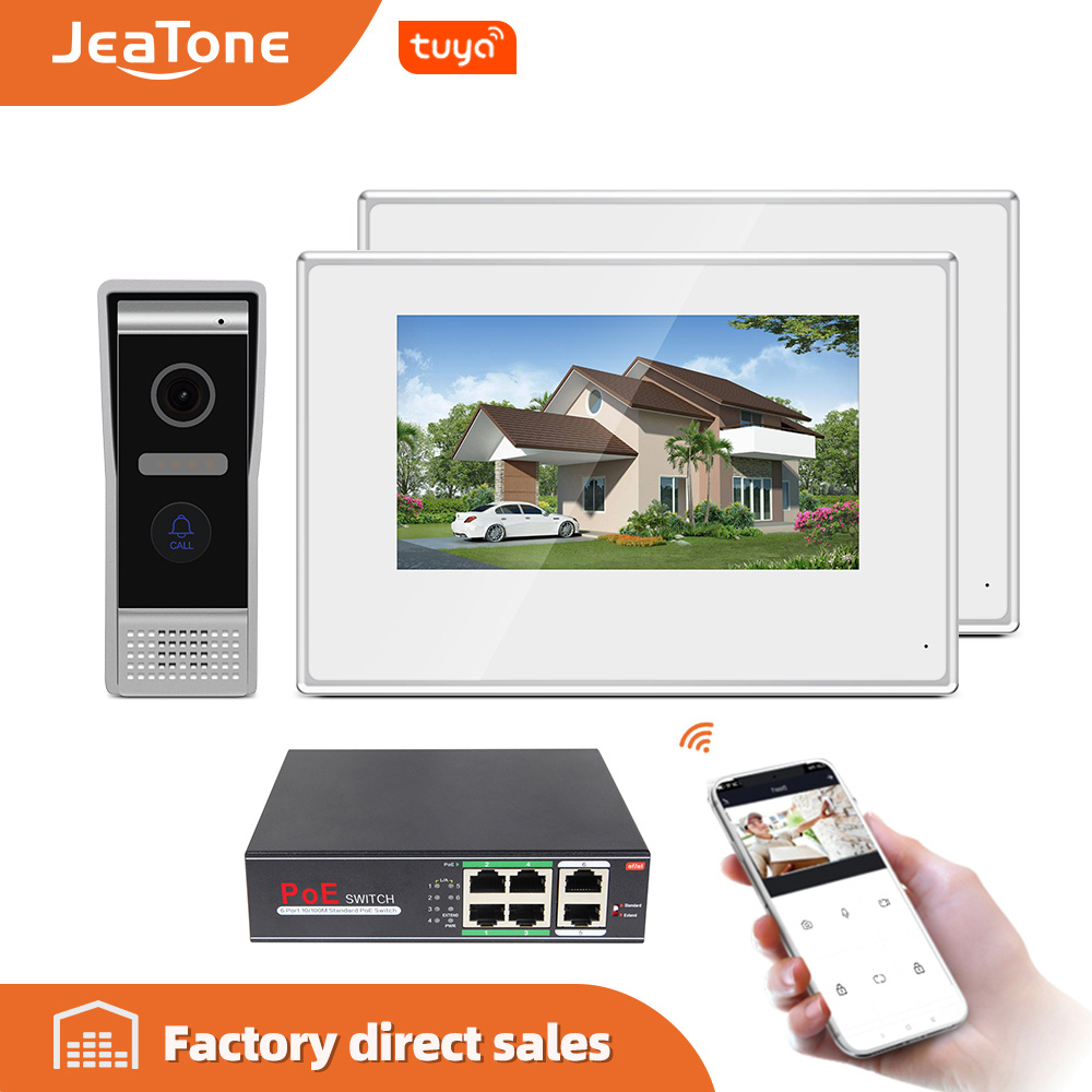Jeatone 7-inch Villa WIFI IP Video Door Phone Intercom System White Color Touch Screen Monitor And HD Camera With Tuya Smart APP