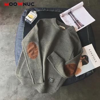 2020 luźny pulower Hombre moda sweter dla mężczyzn ciepły jednolity wysoki jakość nowe wiosenne jesienne z długim rękawem rękaw męski Fit młodzieży dekolt tanie i dobre opinie moownuc CN (pochodzenie) 1SS1002 Patchwork Smart Casual Poliester COTTON Komputery dzianiny O-neck Swetry Pełna NONE REGULAR