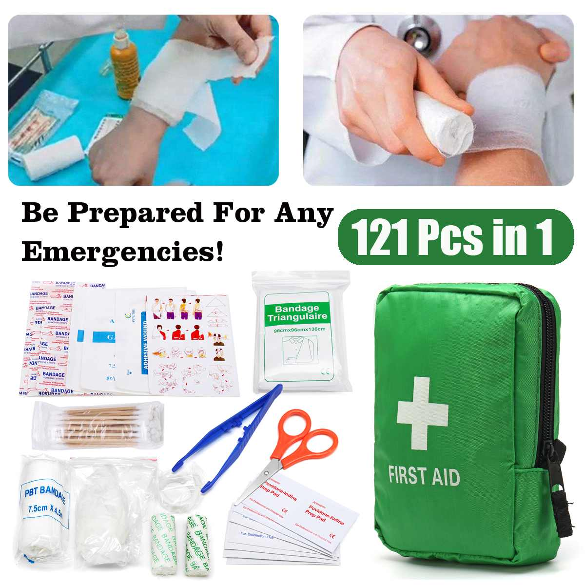 Survival121Pcs Green Mini Safe Camping Hiking Car First Aid Bag Kit Medical Emergency Kit Treatment Pack Outdoor Wilderness