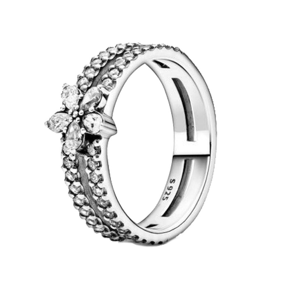 2020 nouvel hiver 925 bague en argent Sterling étincelant flocon de neige anneaux femmes fiançailles anniversaire bijoux