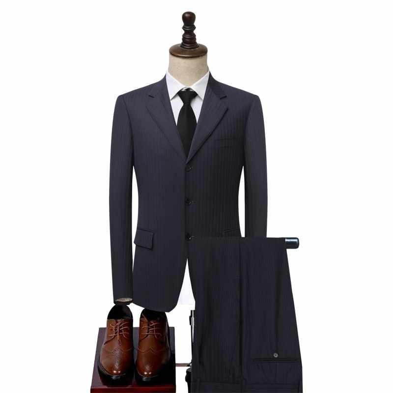 Garnitur męski żakiet z dzianiny dresowej spodnie Slim Fit garnitury wełniane zestaw praca w biurze formalne stroje suknia ślubna jednorzędowy wełniany garnitur pana młodego