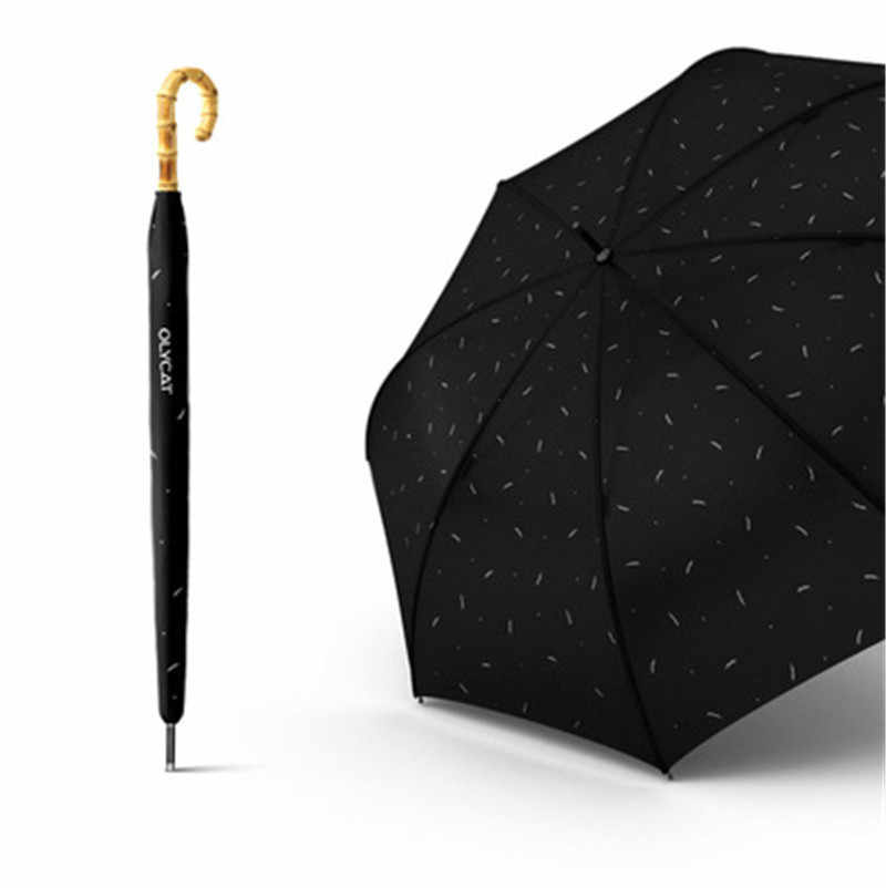 long bamboo umbrella with wooden handle is suitable for business