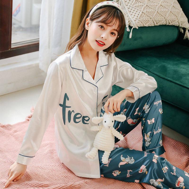 Caiyier 2020 Blue Dumbo Print Pajamas Set Silk Satin Turn-down Collar Nightwear Soft Long Sleeve Sleepwear Ladies Sexy Homewear