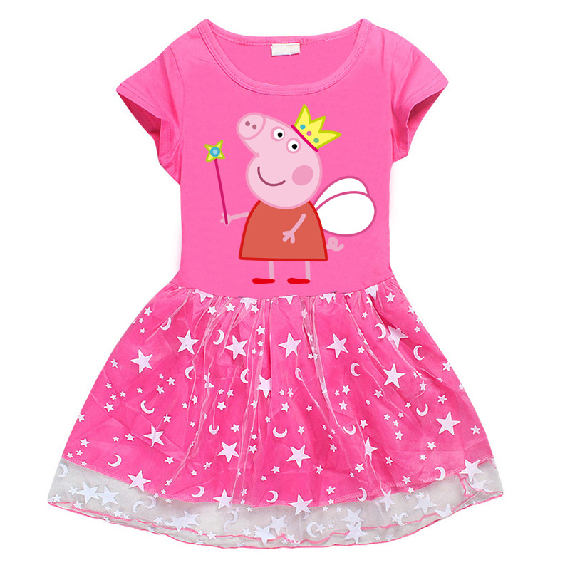 Peppa Pig Girl Summer Dress Clothes Children Baby Princess Short Sleeve Skirts Clothing Moon Star Cotton Party Lace Girl 3-8