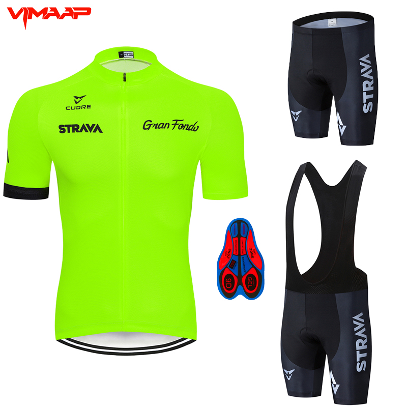 Fluorescent Green STRAVA Cycling Jersey Sets Red Bicycle Short Sleeve Cycling Clothing Bike Maillot Cycling Jersey 9D Bib Shorts