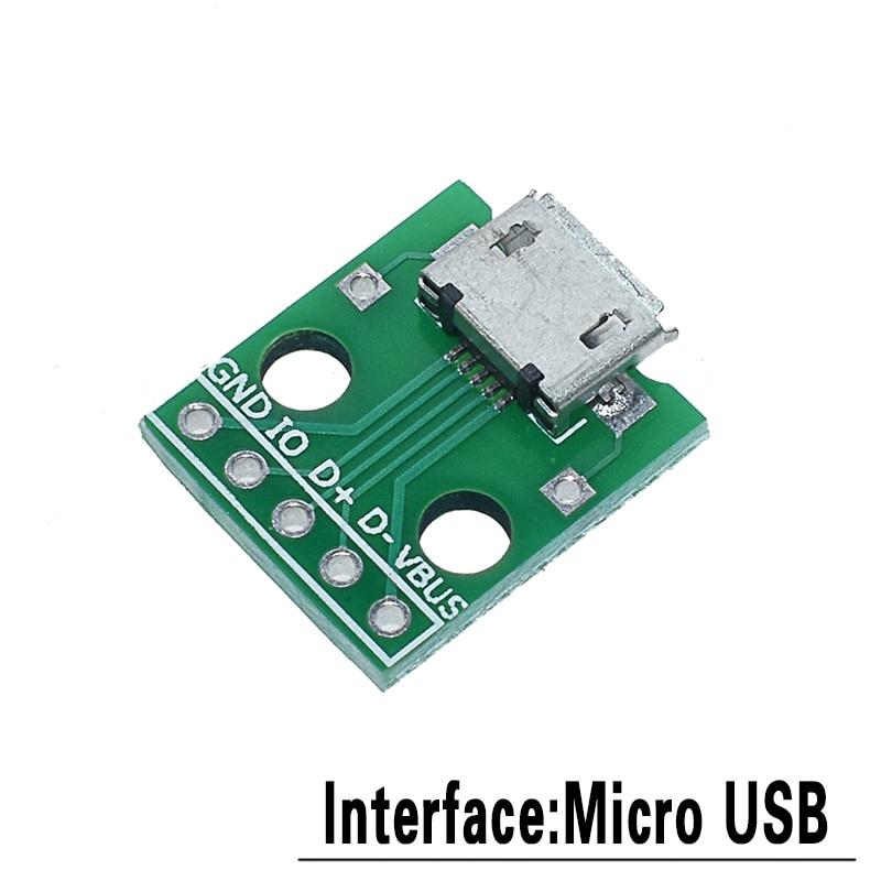 5 шт. USB Мужской разъем/MINI MICRO USB для DIP адаптер Женский Разъем 2,54 Разъем b type-C USB2.0 3,0 женский PCB конвертер - Цвет: MICRO to DIP