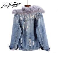 Winter Warm Denim Women Fox Fur Collar Removable Rabbit hair Liner Jeans Jacket Female Vintage Ripped Hole Short Outwear