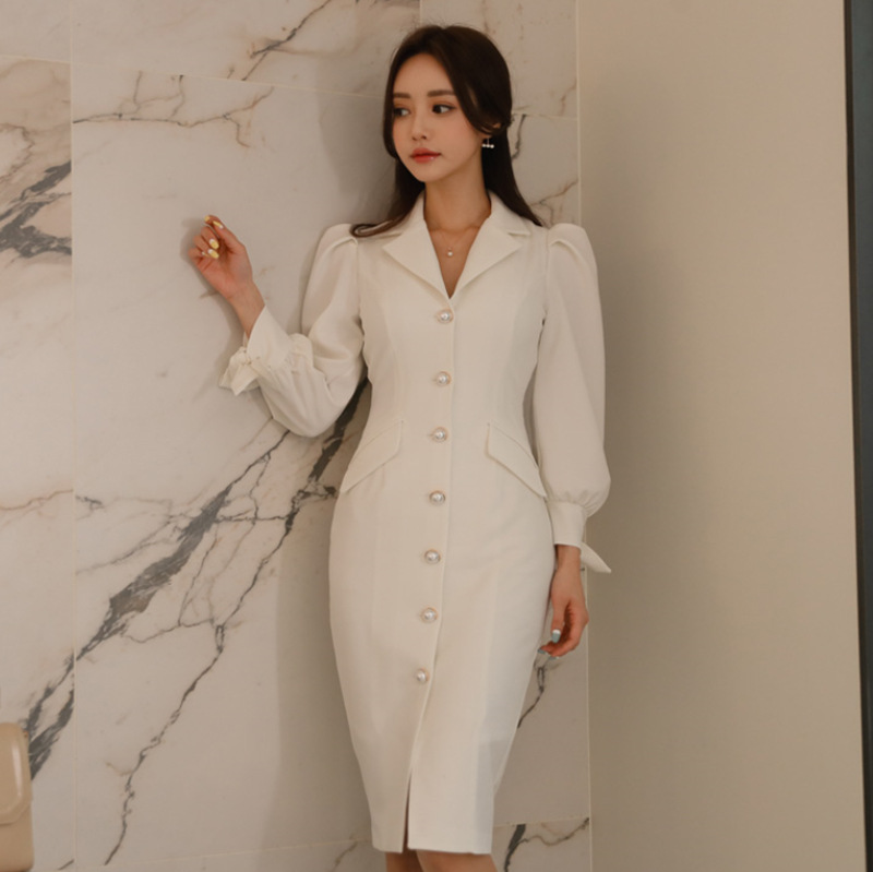 Casual Bodycon White Autumn Dress Women Singer Button Office Work Long Sleeve Sheath Wrap Midi Ladies