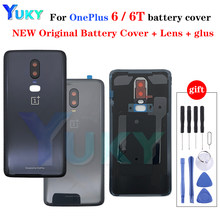 Original Glass For OnePlus 6 6T Back Battery Cover Door Rear Glass Oneplus 6 Battery Cover 1+6T Housing Case + Camera Lens
