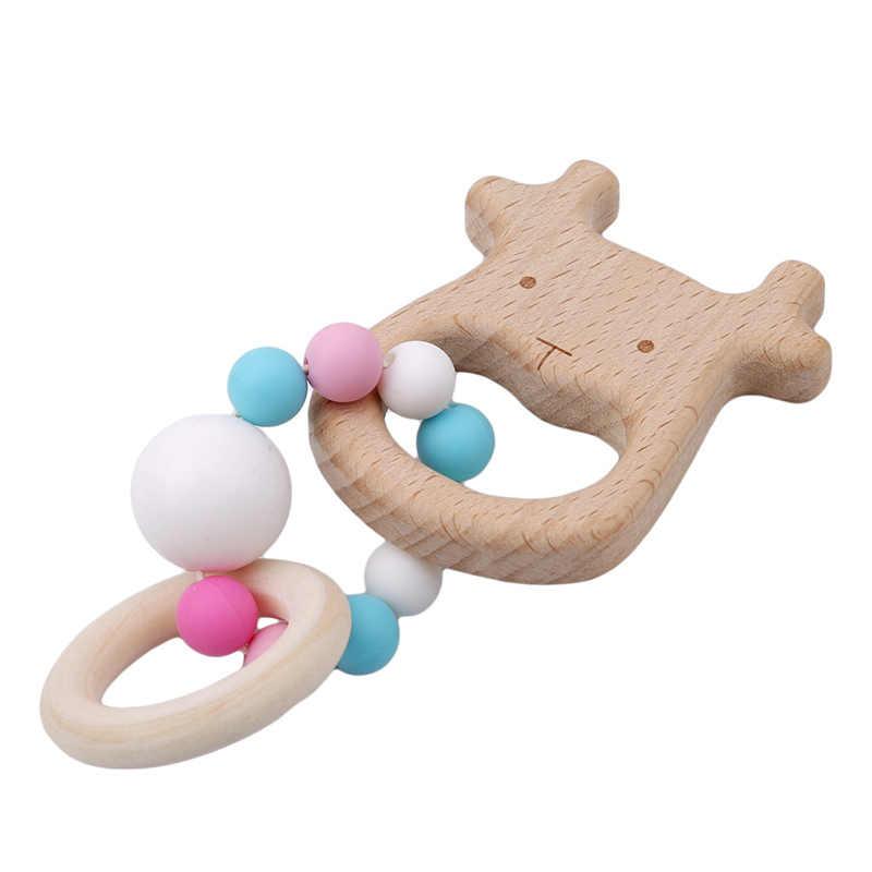 New Arrival grzechotka dla dzieci zawieszki do wózka drewniane w kształcie zwierząt biżuteria dla niemowląt gryzaki kulki silikonowe prezenty dla dzieci zabawki