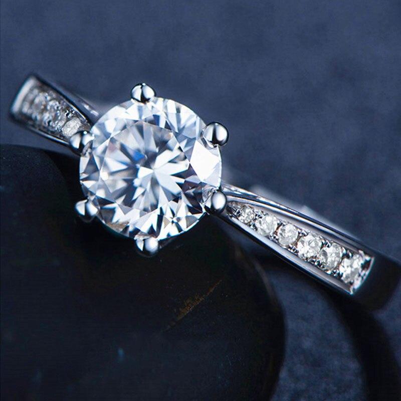 Чистое 18K Белое Золото 1ct 2ct 3ct Moissanite классическое 6 коготь однорядное сверлильное кольцо лабораторное алмазное кольцо обручальное юбилейное