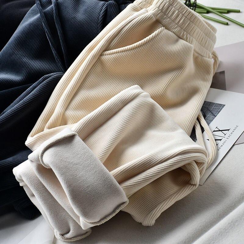 Женские зимние теплые длинные брюки с флисовой подкладкой, женские брюки с завязками в виде моркови, спортивные брюки, брюки с высокой талие...