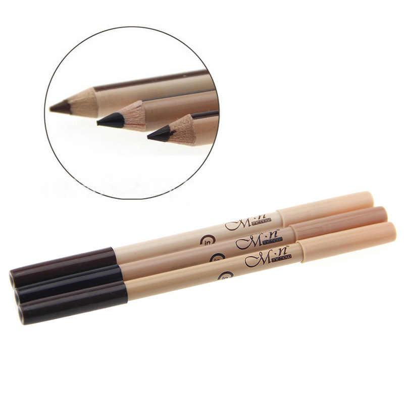 1 stücke Dual-use-Doppel-headed Schwarzen Augenbraue Bleistift Wasserdicht Langlebige Augenbrauen Bleistift Anti-augenringe concealer Stift