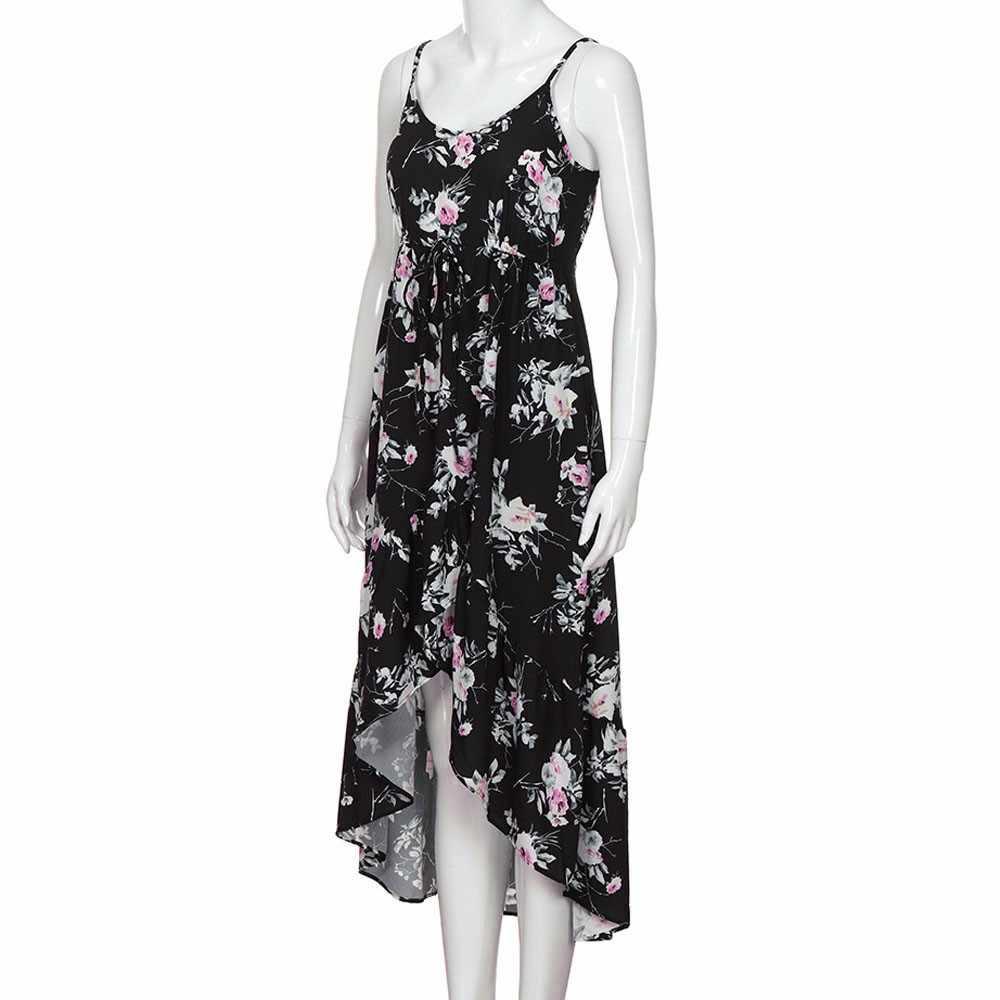 JAYCOSIN קיץ בוהמי נשים חוף שמלה ללא שרוולים פרחוני מודפס ללא משענת ארוכה שמלת קיץ שמלות שמלות קיץ 19N20