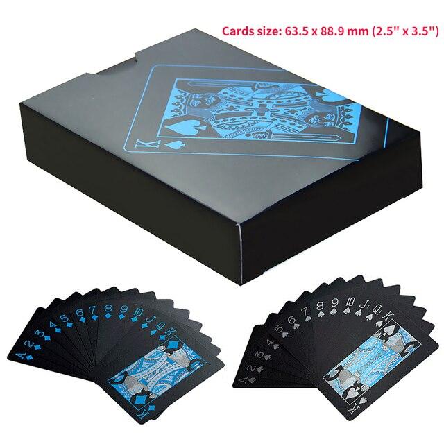 55 шт./палубный покер водонепроницаемый пластиковый комплект из ПВХ игральные карты чистый черный Обычный