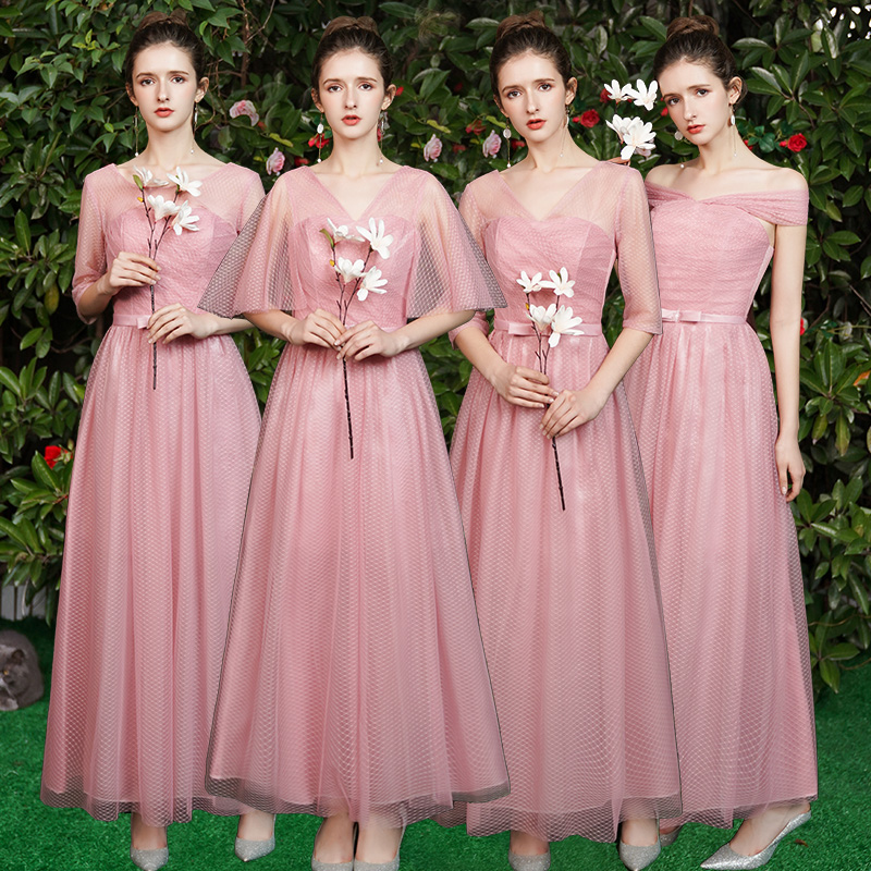 Plus Size Tulle Pink Bridesmaid Dress Long Half Sleeves Elegant Guest Wedding Dress Party V-neck Sexy Prom Dress Vestidos Mujer