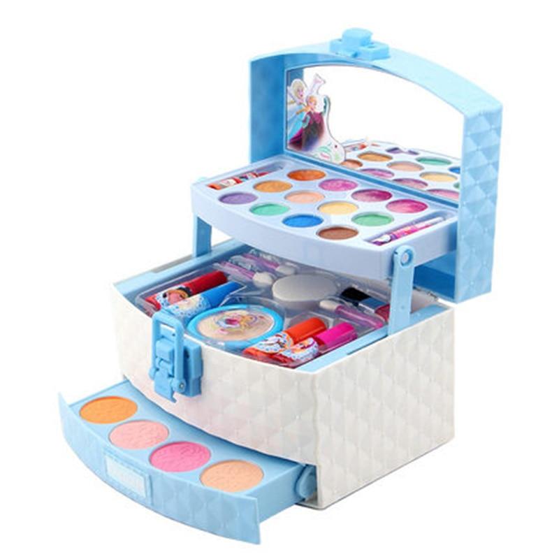 Nova disney meninas congelados 2 elsa anna princesa maquiagem mala brinquedos conjunto caso cosmético caixa de maquiagem branca neve conjunto crianças brinquedo presente