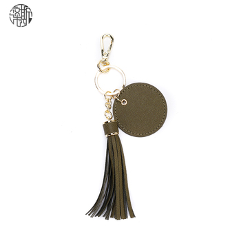 Zenos High Quality Genuine Leather Key Chain Ring Cover Case Holder With Tassel Bag Accesorry image
