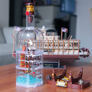 1078Pcs Light Technic Idea Ship Boat In A Bottle Compatible lepinnglys 21313 playmobil Building Blocks Bricks Toys for Children(China)