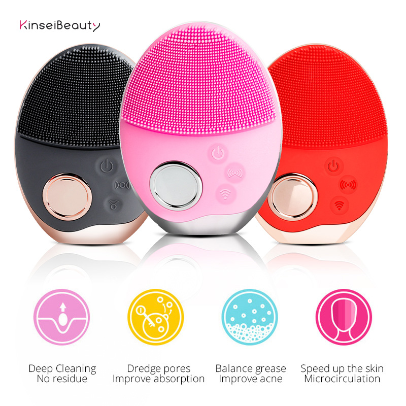 Facial Cleansing Brush USB/Wireless Charging Ultrasonic Face Cleaning Brush Soft SIlicone Led Light Washing Brush Face Cleansing