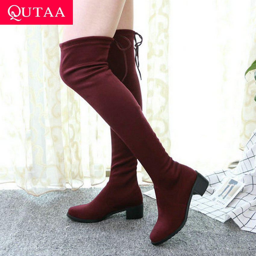 QUTAA 2020 Fashion Lace Up All Match Elastic Fabric Over The Knee High Boots Winter Square Heel Warm Fur Women Shoes Size 34-43