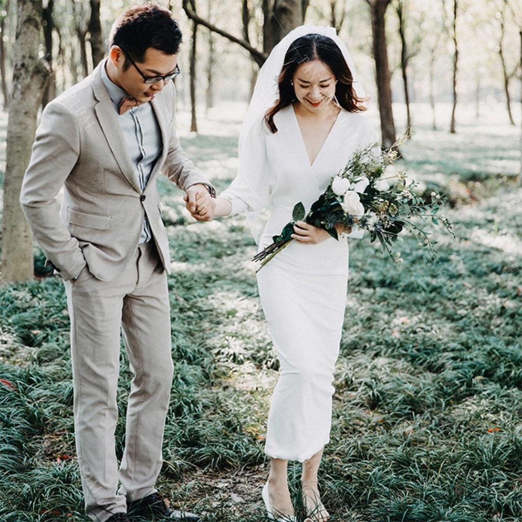 V Neck Boho Wedding Dress Mermaid Soft Stain Ankle Length Bride Gowns Full Sleeves Simple Bridal Dress SWD012