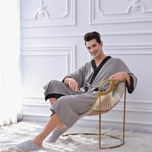 New Men Kimono Polyester Solid Knitted V-Neck Bathrobe Men's