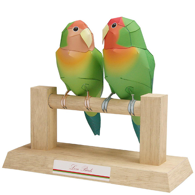 Love Birds Parrot Folding Cutting Mini Cute 3D Paper Model Papercraft Flying Animal Figure DIY Kids Adult Craft Toys QD-105 1