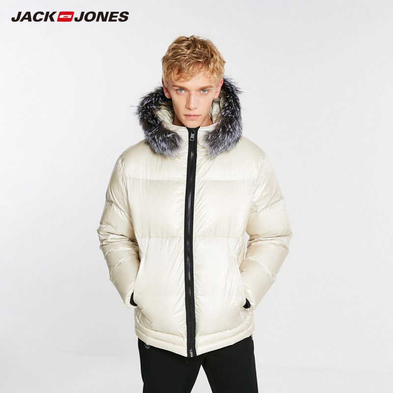 JackJones Men's Winter Hooded Fox Fur Collar Down Jacket 218412521