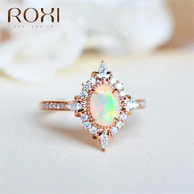 ROXI Vintage Fire Opal cho Nữ, Nhẫn Nữ Magic Mirror CZ Nhẫn Micro Mở Đường Đá Zircon Nhẫn Cưới Đính Hôn Trang Sức