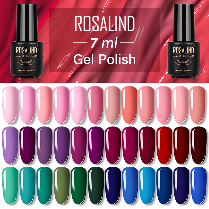 ROSALIND Gel Nail Polish Set Gel Varnish Hybrid Nail Art Vernis Semi Permanent UV LED Top All For Manicure Base Coat