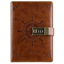 B6 Vintage NotepadสมุดบันทึกประจำวันMemos Planner Agenda Notebook PuหนังSketchbookล็อคสำนักงานนักเรียนรหัสผ่าน