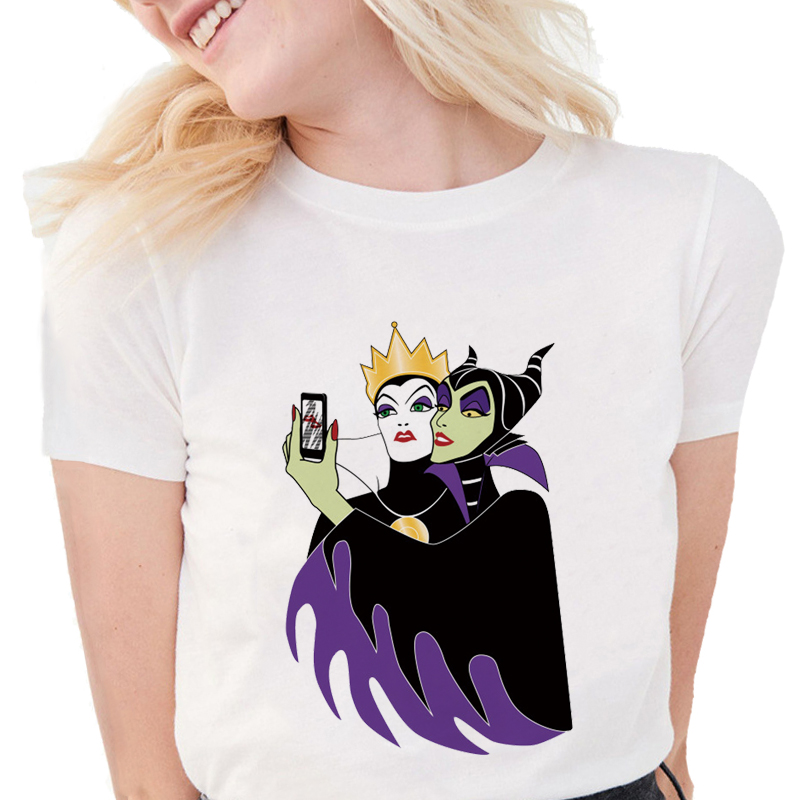 Funny Villain Selfie Tshirt Maleficent Witch Queen T Shirts Fashion Women Soft Cotton Short Sleeve Casual White Tops T Shirts