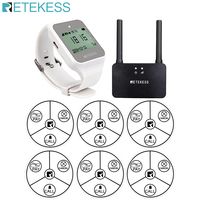 Retekess Kellner Wireless Aufruf Pager Restaurant Pager Uhr Empfänger + 6 stücke TD014 Self Powered Call Taste + TD023 verstärker|Pager|Handys & Telekommunikation -