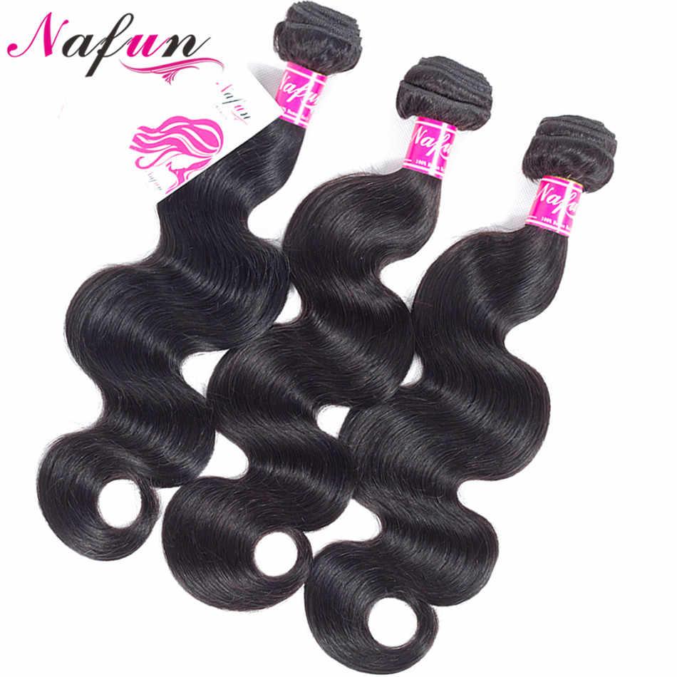 Nafun Body Wave 3 Bundels Met Sluiting Braziliaanse Menselijk Haar Bundels Met Vetersluiting Haar Leveranciers Non-Remy Human haarverlenging