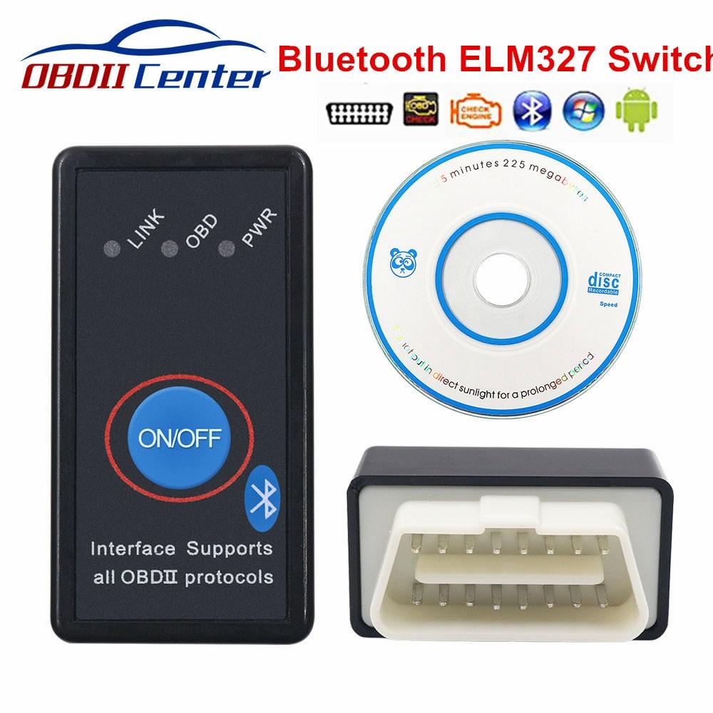 Super Mini OBD2 ELM327 Bluetooth Switch ELM 327 OBD 2 OBD II Diagnostic Scanner Auto ELM327 V2.1 Switch Adapter OBD2 Code Reader