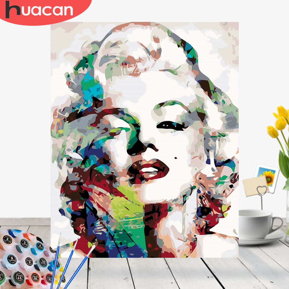 HUACAN Painting By Numbers Marilyn Monroe Drawing Canvas HandPainted Figure Home Decor DIY Kits Oil Pictures By Numbers in Paint By Number from Home Garden