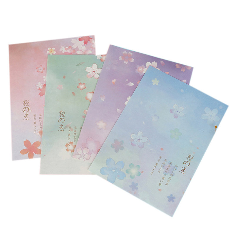 8pcs Cute Sakura Paper Letter Set Office Message Writing European Country Style Envelope Letter Paper School Stationery Supplies