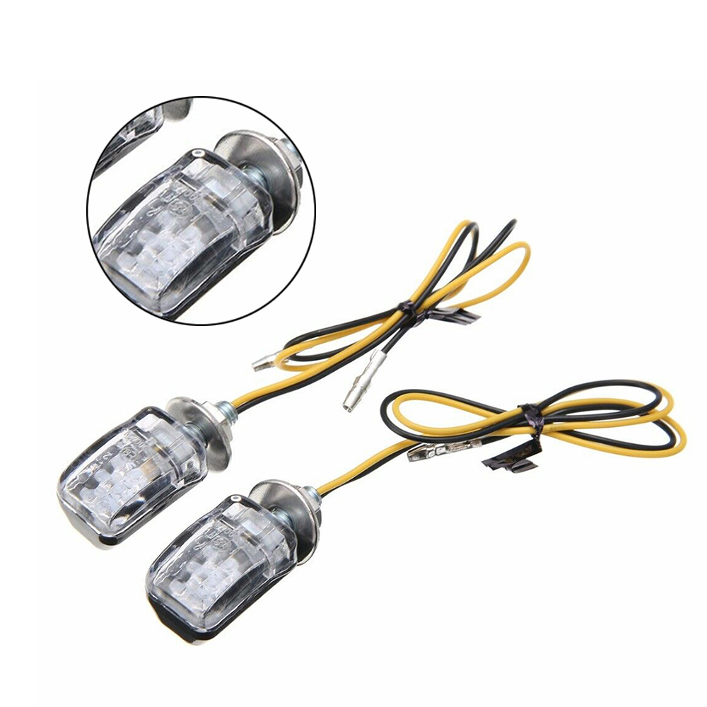 2pcs Motorcycle Flash Turn Signal Amber Light 6 LED Mini 2 Black Shell Blinker Indicator Lamp