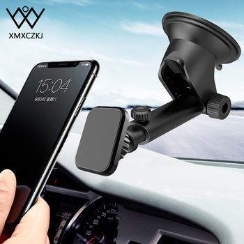 цена на Telescopic Magnetic Car Phone Holder For iPhone 11 Xs Max XR 8 6 Suction Cup Car Dashboard Mount Cell Mobile Phone Holder Stand