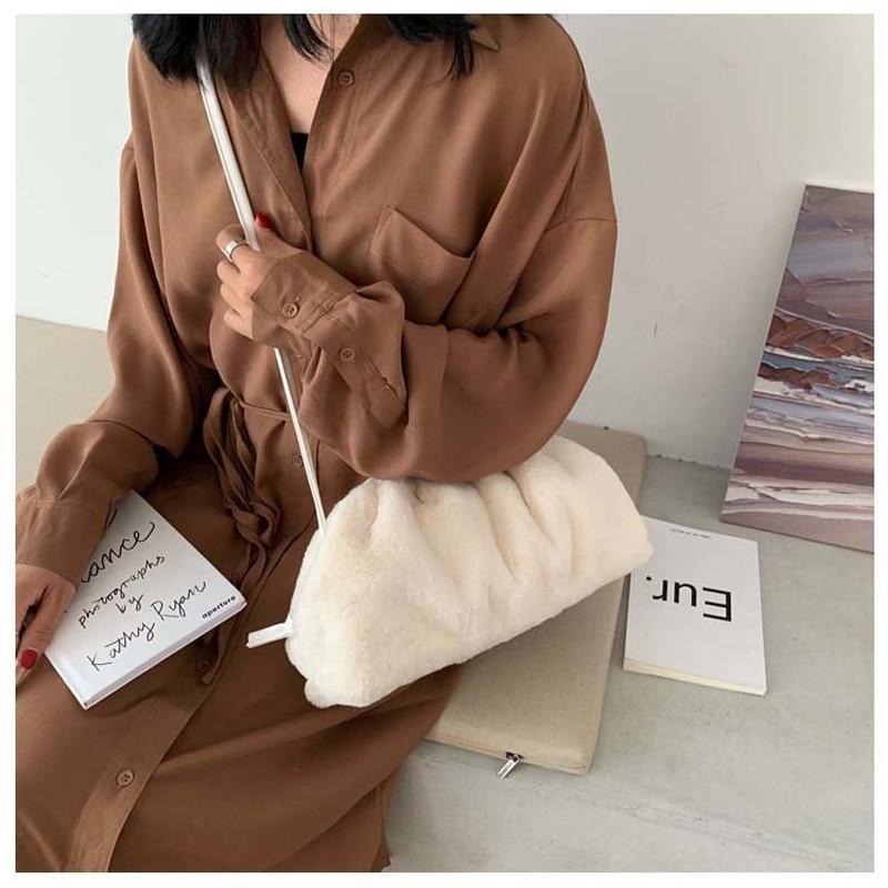 Women Flannel Messenger Bag Soft Ladies Handbags Designer Cloud Shoulder Bag New Crossbody Bags For Women Clutch Small Purse