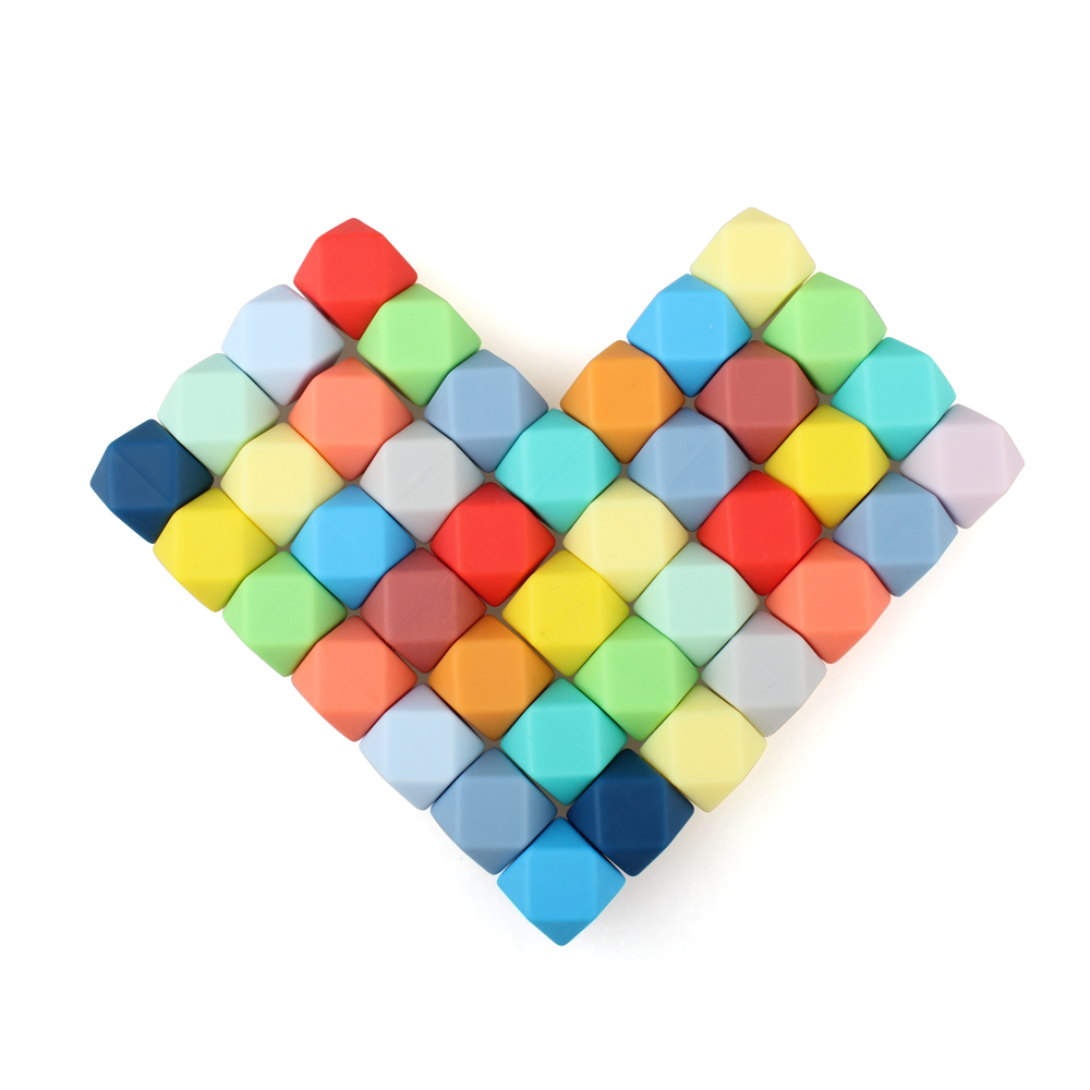 Keep&grow 10pcs/lot Silicone Loose BeadsTeething Beads DIY Chewable Colorful Teething For Infant Baby Safe Teether Round