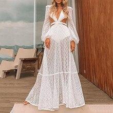Prom-Dresses Long-Sleeve Women's Ladies Lantern Evening-Dress Lace Open-Back Cut-Out