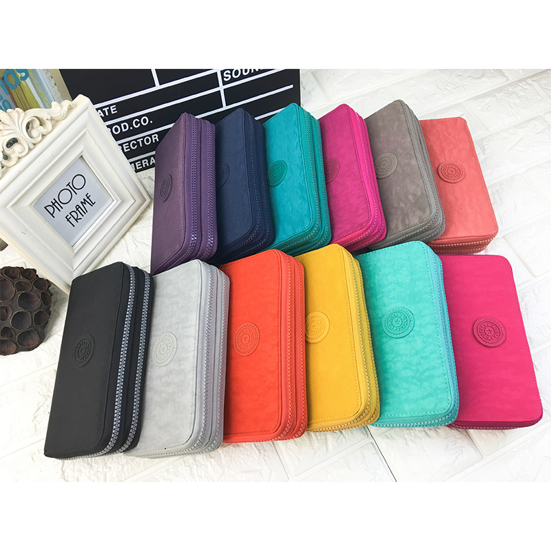 Wallet Women Nylon Long Purse With Double Zipper