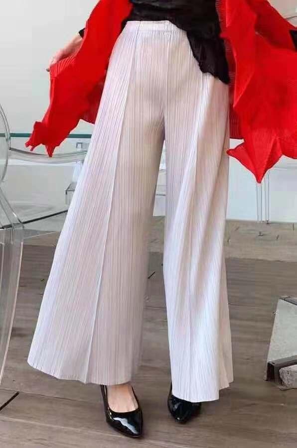 Miyake plissé large jambe décontracté pantalons décontractés livraison gratuite