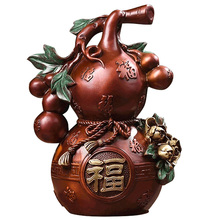 MOZART Pure Copper Baifu Gourd Ornaments Living Room Tv Cabinet Home Decoration Lucky Wind Watercolor Copper Gourd Chinese new chinese zen ceramic pure copper ornaments living room tv cabinet entrance crafts home model room soft decorations