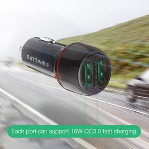 Image 2 - BlitzWolf 18W הכפול QC3.0 USB יציאת מיני מהיר טעינת מטען לרכב עבור iPhone 11 פרו XS/Xiaomi/pocophone F1 נייד טלפון