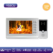 YSECU 7 inch 1000TVL Silver HD Video intercom kit for home security Video Door Phone with lock,Video Intercom,Video doorbell cheap Wired Hands-free CMOS Color Acrylic brushed panel monitor acrylic doorbell 7 inch video monitor DC 12V 1A RAM721-S-RAP83B
