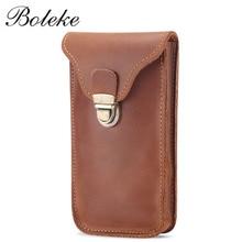Monedero de cuero genuino, funda simple de moda para llave, cinturón colgante para cintura, bolso para teléfono móvil, cartera retro de cuero de Caballo Loco